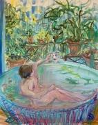Deborah Brown Bathtub Self-Portrait with Zeus V, 2020