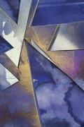Detail ofUntitled (bl.ppr.crdbrd.lt.bl.brnz.trngls.), 2016, Gouache, graphite, spray paint, acrylic, glue, paper, cardboard, aluminum and wood panel
