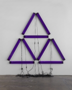 Paul Stephen Benjamin, Black Illuminati, 2021, blacklight, black power strip, black extension cord, 120 x 113 in (304.8 x 287 cm),