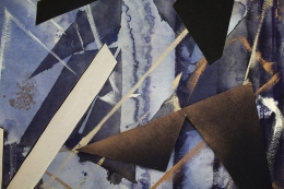 Detail ofUntitled (drkbl.flr.ppr.crdbrd.shps.), 2016, Gouache, graphite, spray paint, acrylic, glue, paper, cardboard, aluminum and wood panel