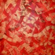 """Azadeh Ghotbi, Crossroads # 12, acrylic on canvas, 40 x 40"""""""
