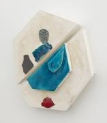 Nicole Cherubini, Polygon with turquoise and red shard, 2018