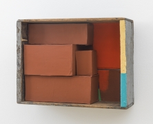 Yellow + Blue Stick, 2002, wooden box, cardboard boxes, flashe, housepaint