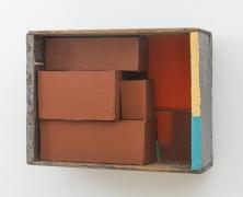 Yellow + Blue Stick, 2002, wooden box, cardboard boxes, flashe, housepaint