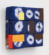 Pineapple, 2020, wooden blocks, African fabric, paper, Flashe acrylic