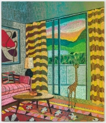 Interior with Giraffe Sculpture and Calder Print, 2021, oil stick, oil pastel, and Flashe on burlap