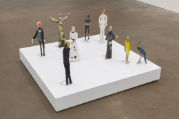 Standing Figures Used in Conductive Paper Plays, 2019, mixed media