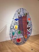 Satellite, 2016, Metal, yarn, thread, wood, acrylic polymer, rocks, mylar
