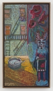 NYC Fire Escape Painting with Kachina Doll, 2018, oil stick, oil pastel & Flashe on linen