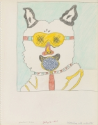 """Untitled (Study for """"No Dogs Aloud""""), 1965, Ink, graphite and color pencil on paper"""