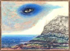 Bodega Bay,2006-2007, color pencil, graphite and collage on paper