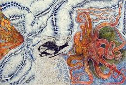 Overlap, 2002, color pencil on paper