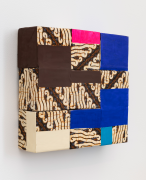 Figure ground equality, 2020, wooden blocks, fabric from Thailand, paper, Flashe acrylic