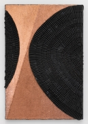 Alyson Shotz, Light Falls, 2020, recycled rubber bicycle inner tubes, copper washers, copper nails, wood, 48 x 33 x 3 inches