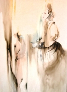 Queen on Horse,2004, watercolor on canvas