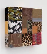 Weather, 2020, wooden blocks, dress fabric, paper, Flashe acrylic