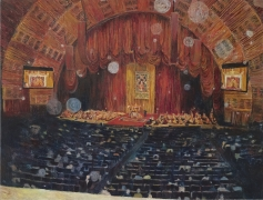 The Dalai Lama Teaching the Diamond Cutter Sutra and Seventy Verses on Emptiness at Radio City Music Hall Oct 14, 2007, 2008, oil on linen