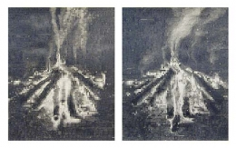 0 0, 2003, graphite on paper (in two parts)