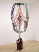 Godzeye, 2011, metal, plastic lace, yarn, thread, rocks, acrylic, plasticine, plaster, mailbox
