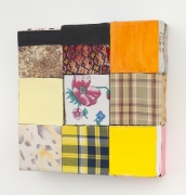 Central flower, 2018, wooden blocks, dress fabric, plaid fabric, paper, Flashe acrylic