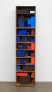 Mostly blue, for E.G., 2020, wooden boxes, cardboard boxes, paper, Flashe acrylic
