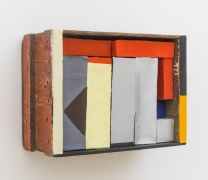 Red, Yellow, Blue boxes in a box, 2015, wooden box, cardboard boxes, paper, flashe acrylic, housepaint