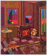 Upstate Interior with Wood Burning Stove, 2021, oil stick, oil pastel, and Flashe on burlap over canvas