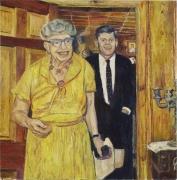 Eleanor Roosevelt and JFK (The Raft at Tilsit),2006, oil on linen