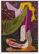 You Must Lead the Dance With Me, the Letter of Indulgence Does not Help You. You Must Dance to My Pipes., 2013, woodcut print on Zerkall Alt Mainz white, 300g