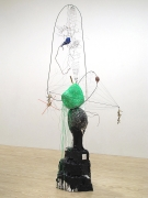 Oracle in Reverse, 2012, paper maché, metal, enamel, beeswax, thread, wire, clay, foam, feathers, seashell, gouache, plastic