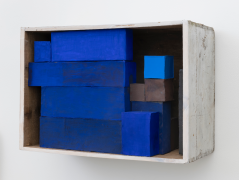 Elegy #2, 2020, wooden box, cardboard boxes, Flashe acrylic