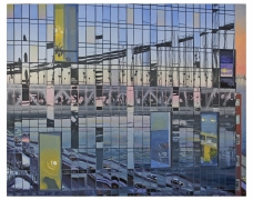 Bridge at Dusk, 2021, Flashe, acrylic, and oil on Dibond