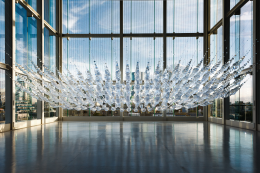 Geometry of Light, 2011, cut plastic fresnel lens sheets, silvered glass beads, stainless steel wire