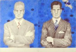 Double Portrait, 2007                            , color pencil, graphite, and collage on paper