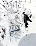 Gagarin and Laika (Life on Mars), 2007, mixed media on paper