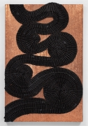 Alyson Shotz, Chronometer, 2020, recycled rubber bicycle inner tubes, copper nails, copper washers, wood, 73 x 48.5 x 3.25 inches