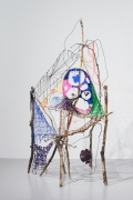 Foot of a Grimey, 2016, Sticks, wire, yarn, thread, mylar, beeswax, paper, plaster, pebbles, acrylic paint skin, pushpins, plasticcoated wires