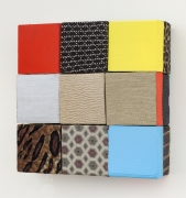 Ladies' Red, Yellow, Blue, 2016, Wooden blocks, dress fabric, Flashe acrylic, house paint