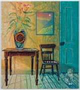 Interior with Mexican Vase, Lillies, & Calico Cat, 2021, oil stick, oil pastel, and Flashe on linen