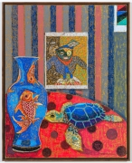 Still Life with Max Ernst, 2021, oil stick, oil pastel, and Flashe on linen