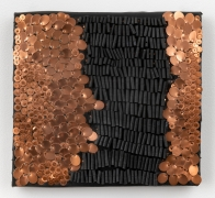 Alyson Shotz, Untitled, 2020, recycled rubber bicycle inner tubes, punched copper, copper washers, copper nails, wood, 11.25 x 12.25 x 2.25 inches