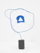 Driftloaf (Blue Triangle), 2015, clay, plastic coated wire, thread, bread, paint