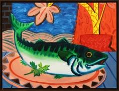 Untitled (Fish), 2016, oil on masonite