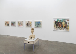 Genesis Belanger, Melissa Brown, Roy De Forest, Mimi Gross, curated by Dan Nadel, installation view at Derek Eller Gallery, New York