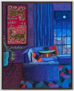 NYC Interior with Tibetan Tapestry, 2021, oil stick, oil pastel, and Flashe on linen