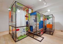 Good Weather (Glass House),2014, glass, steel, screenprint ink, acrylic and latex paint, construction adhesive, wood floor, lights, wires
