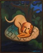 Untitled (Dog), 2016, oil on masonite
