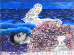 Dreamer I, 2006-2007           , color pencil, graphite, and collage on paper