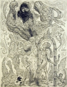 Poet and Fates,2004, ink, graphite, watercolor on paper