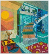 Interior with Niki de St. Phalle & Sophie Taeuber-Arp, 2021, oil stick, oil pastel, and Flashe on burlap over canvas